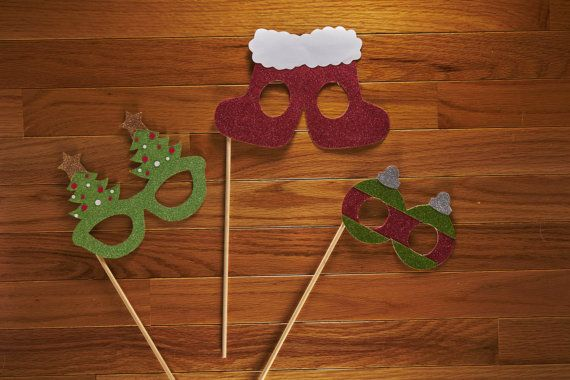 Christmas Glasses Photo Booth Prop Set Glitter by LoveMischka