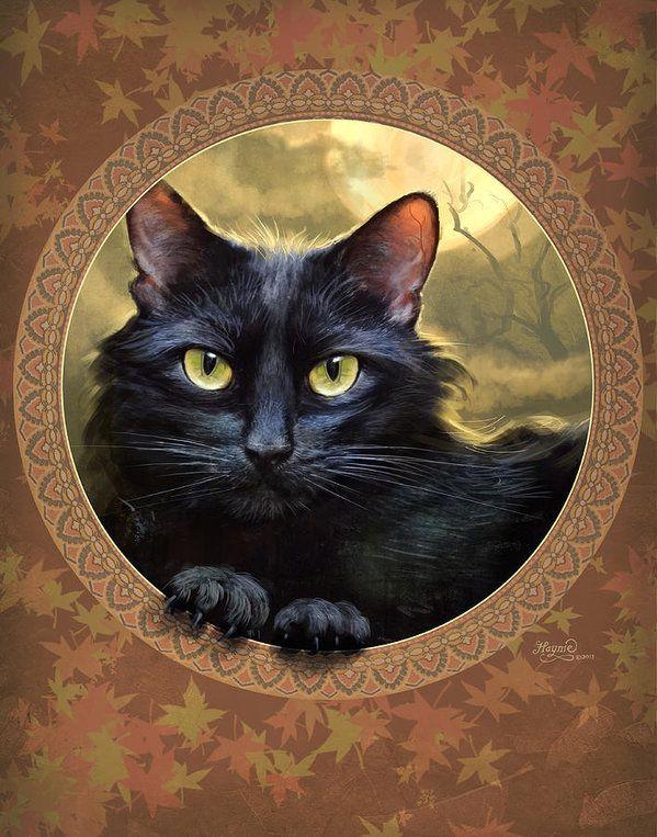Black Cat Autumn Art Print By Jeff Haynie Black Cat Painting