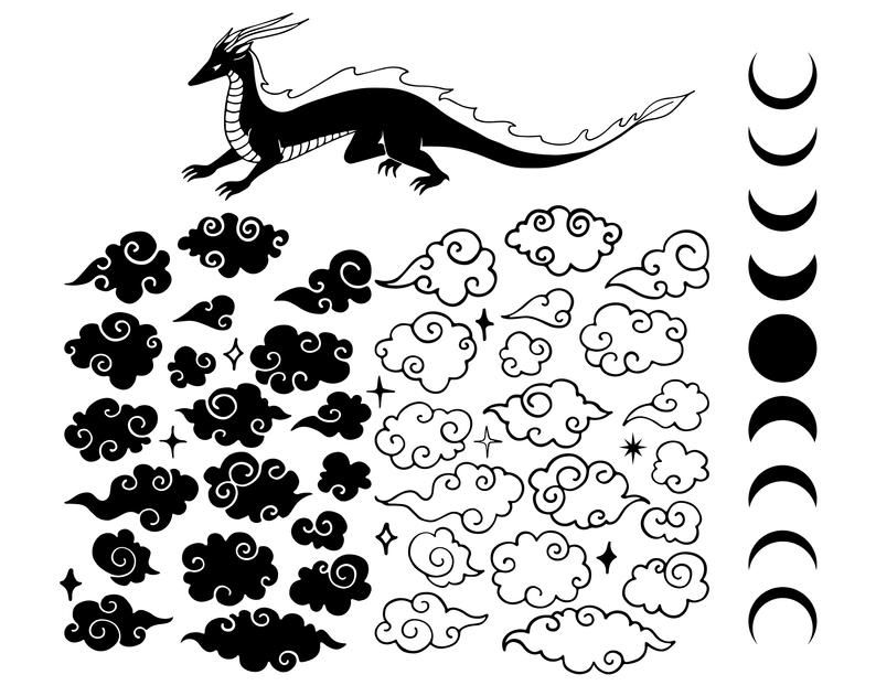 SVG Cutting File for Cricut Design Space and Silhouette Studio Chinese dragon svg,Shirt,Decor DXF Eps PNG