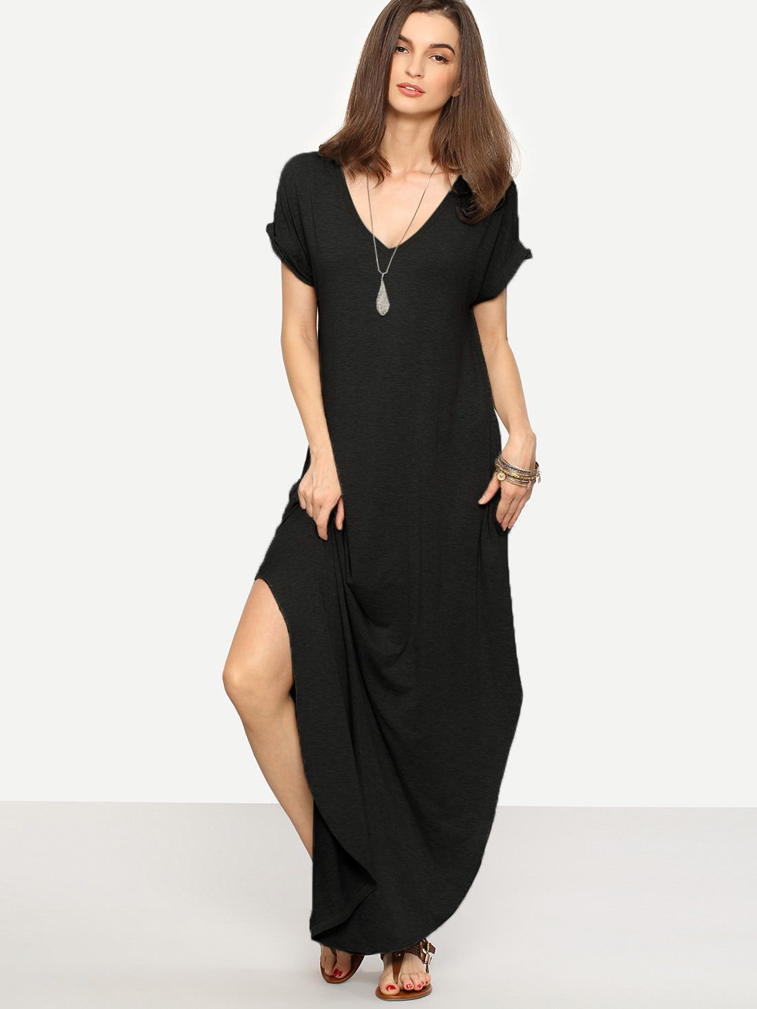 0fd512395bb84 Shop Rolled-cuff Pockets Side Split Curved Dress online. SheIn offers  Rolled-cuff Pockets Side Split Curved Dress & more to fit your fashionable  needs.