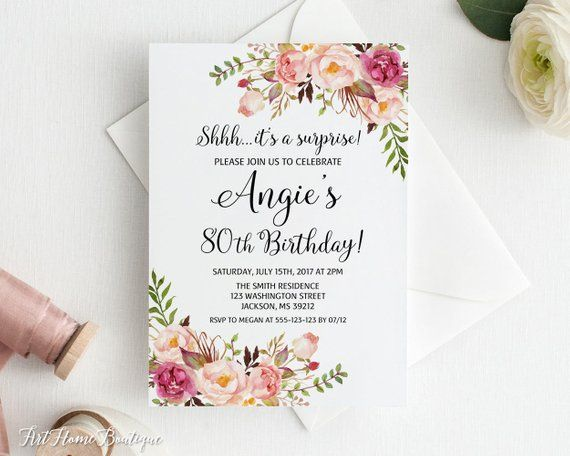 Surprise 80th Birthday Invitation Any Age Women Digital File BW99