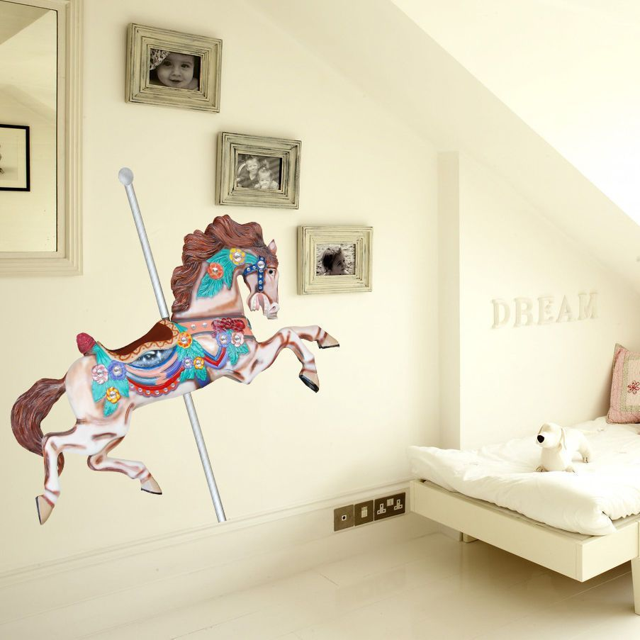 Horse sticker wall art - Full Color Decal Carousel Horse Sticker Carousel Horse Wall Art Decal Sticker Decal Size 22x26