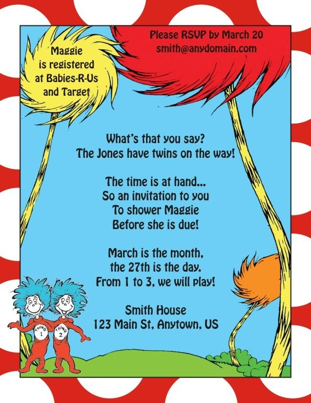Thing 1 and Thing 2 Dr. Seuss Birthday or Baby Shower Invitations ...