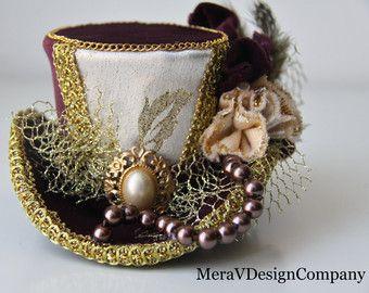 Burgundi Velvet Mini Top Hat, Steampunk, Women Headpiece, Gothic Hat, Mad Hatter Hat, Victorian Hat, Vintage Brooch, Pearls Ready To Ship