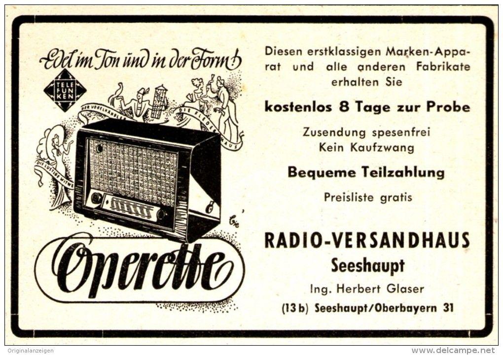 Original-Werbung/Anzeige 1950 - TELEFUNKEN OPERETTE RADIO / RADIO VERSANDHAUS GLASER / SEESHAUPT - ca. 90 X 60 mm