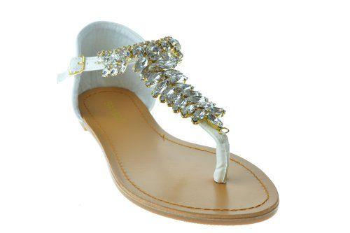 86b3487c43892 Aveno 05 Womens Rhinestone Embellished Thong Flat Sandals White 8.5 Bamboo  http   www