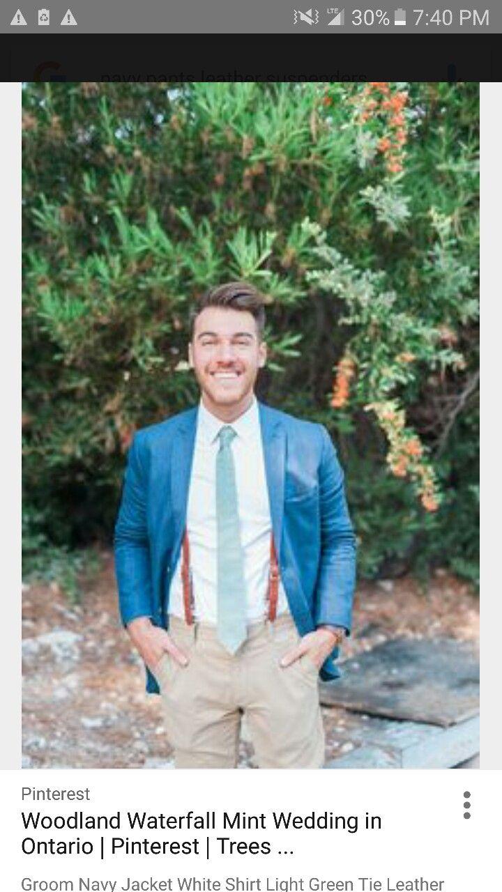 Khaki suspenders blazer wedding dressessuitsaccessories
