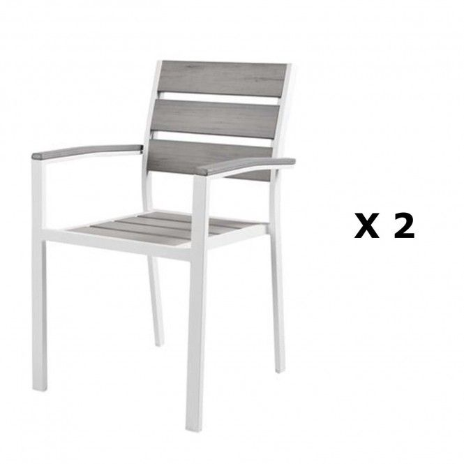 2 chaises de jardin Boyos - Aluminium effet bois - Taupe ...