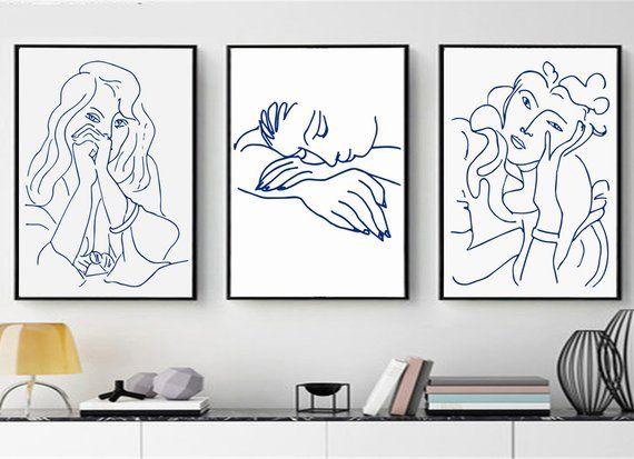 1b902474047 Matisse Print Set Of 3 Wall Art Blue Line Art Woman Art Matisse Face  Downloads Sketch Bedroom Art Li