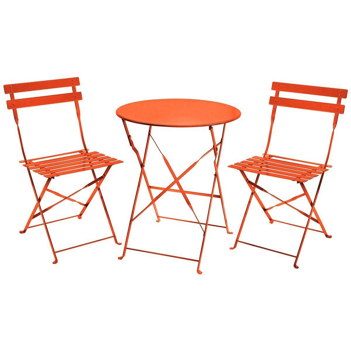 Charles Bentley 3 Piece Folding Metal Bistro Set Garden Patio Furniture Round Table 2 Chairs