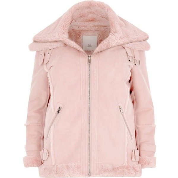 8af11a89a3a5d River Island Plus pink faux fur trim aviator jacket ( 180) ❤ liked on  Polyvore