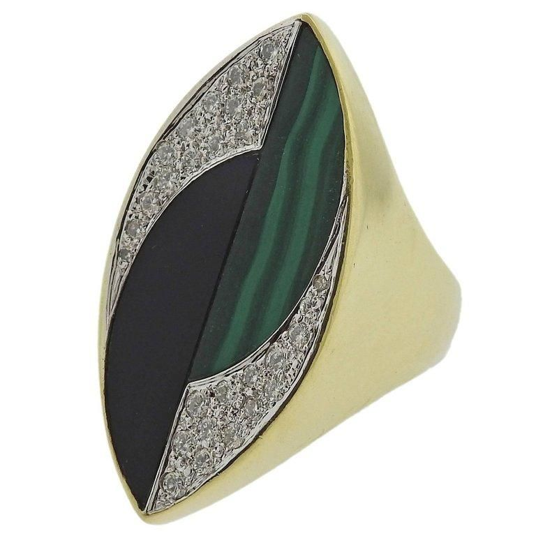 1970s La Triomphe Malachite Onyx Diamond Gold Ring
