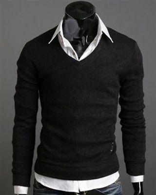 Black Solid Pullover Long Sleeves V- Neck Men Sweater #men #smart ...
