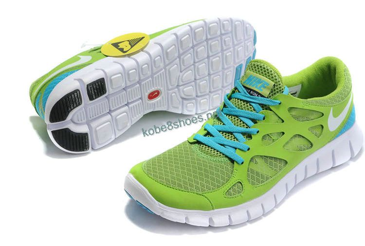 797040a56f2b Cheap Nike Free Run 2 Mens Apple Green Drenched Blue White 443615 ...