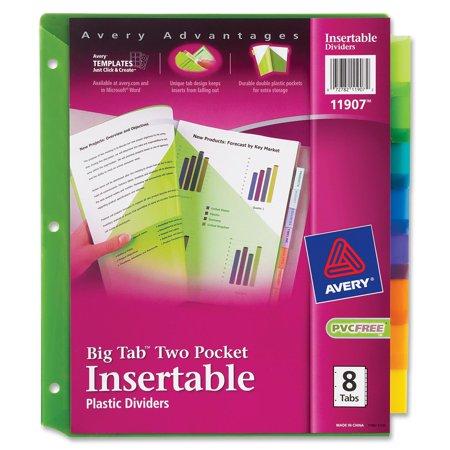 Avery Big Tab Insertable Plastic Dividers 8 Tab Set Multicolor Walmart Com Student Data Binders Data Binders Binder Dividers