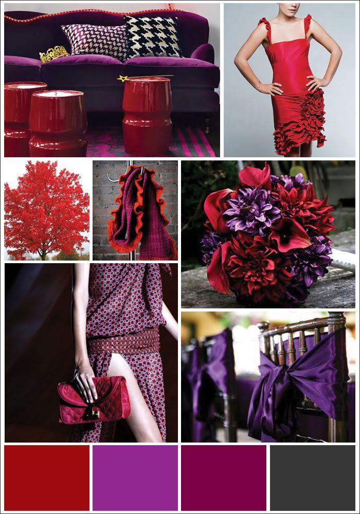possible color pallet for the wedding. Red Purple ...