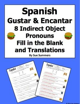 Spanish Gustar And Encantar Fill In The Blank And Translations