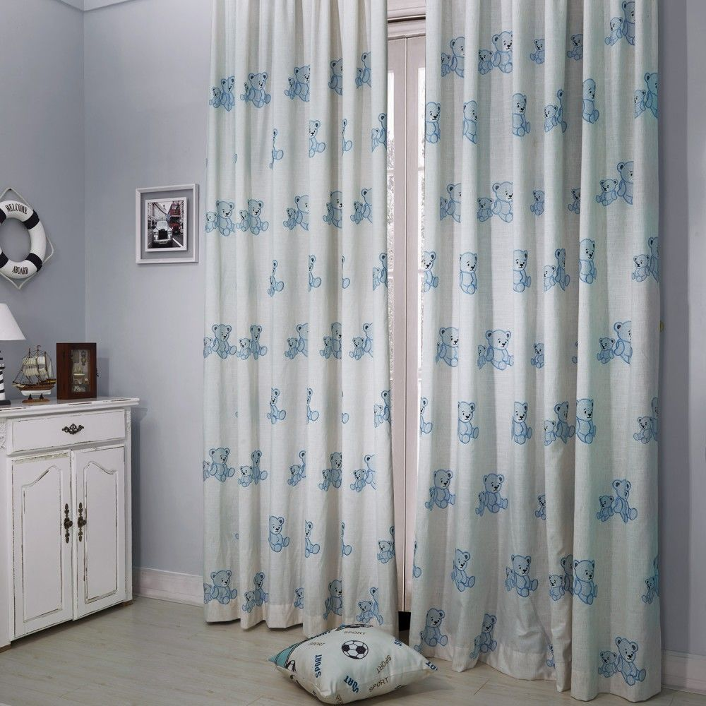 Country Blue Bear Embroidery Kids Curtain Curtains Homedecor Nursery Custommade
