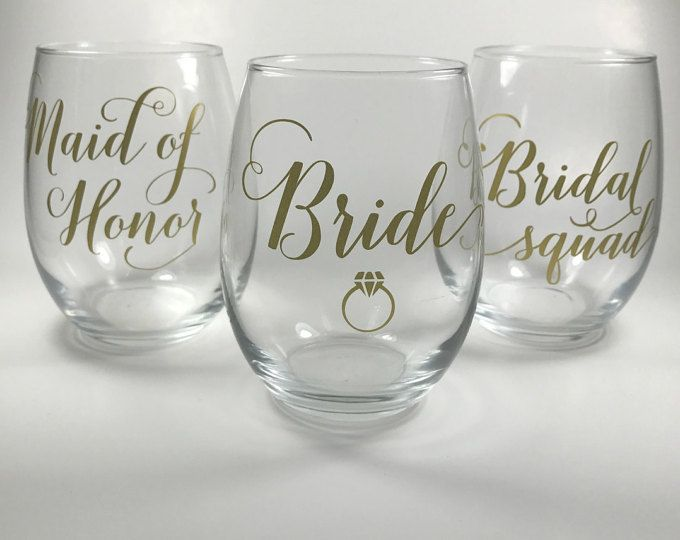 Bridesmaid Gift Wine Glass Gift Stemless Wine Glass Custom Name Wine Glass Bridal Party Favor Personalized Wine Glass