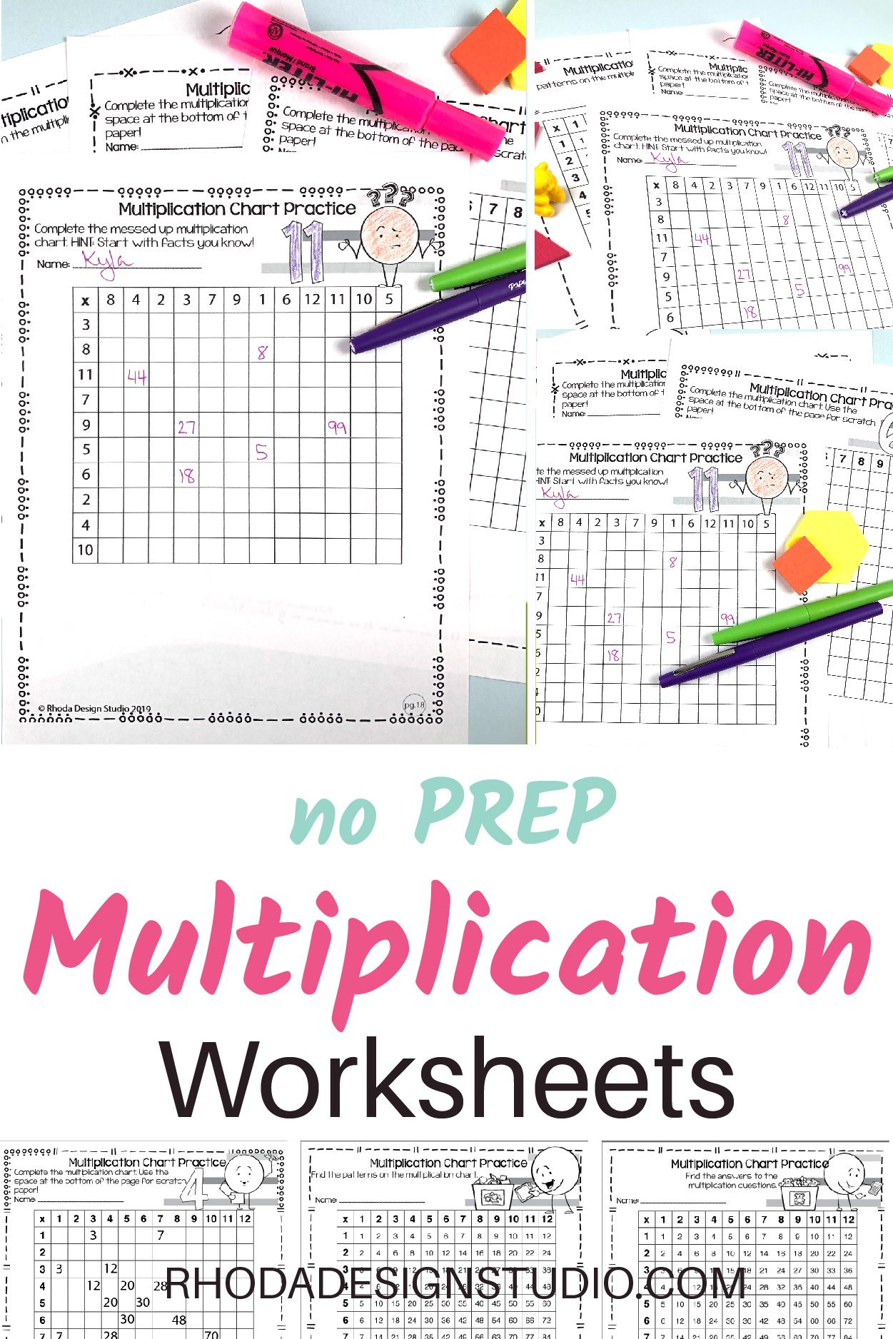 Multiplication Chart Worksheets Differentiated Practice