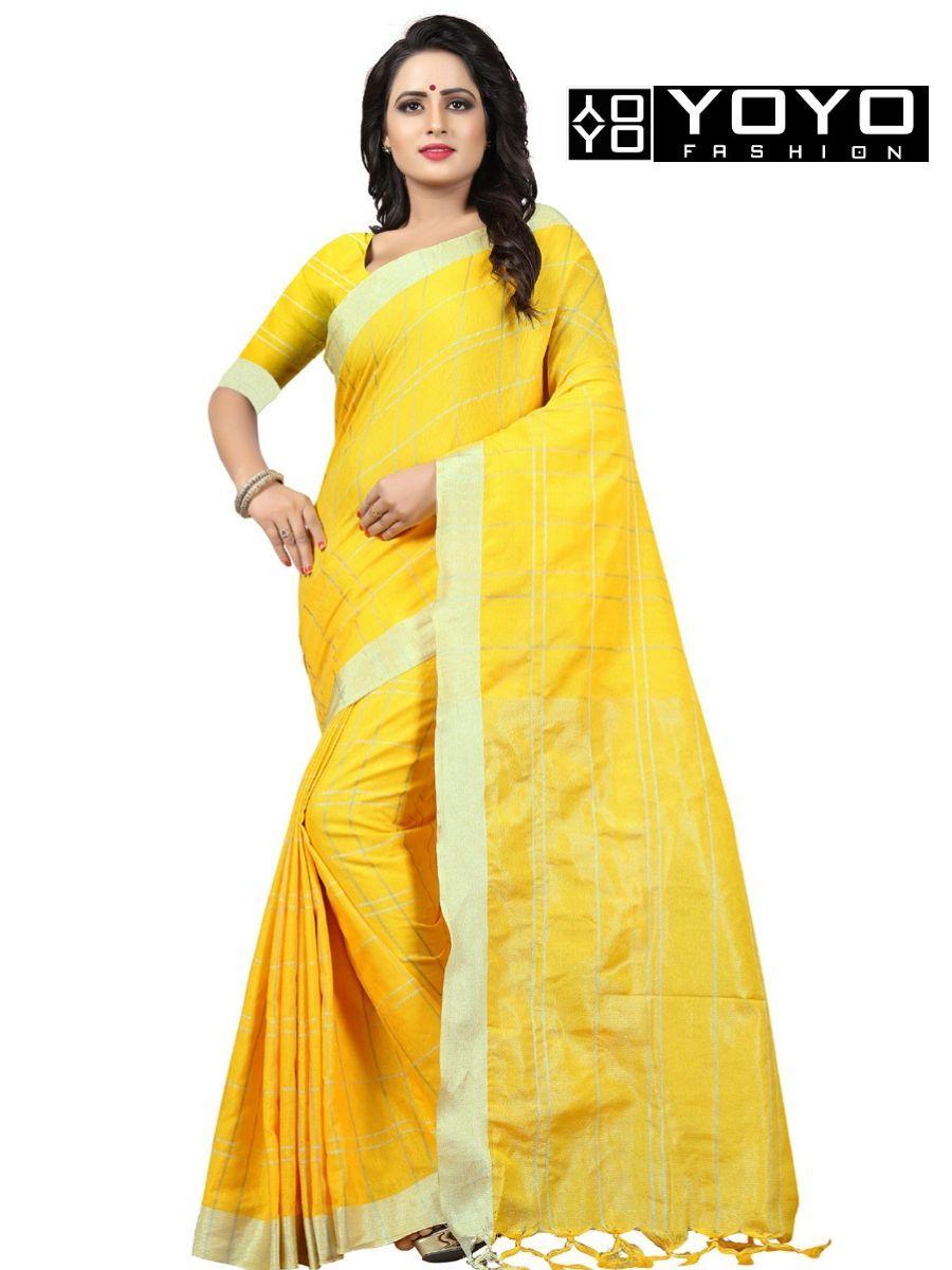 62eee8f4a1 Designer Yellow Checks Linen Cotton Saree at YOYO Fashion. Call or Whatsapp  for more info here  +91 8000588688  Style  Fashion  Saree  DesignerSaree ...