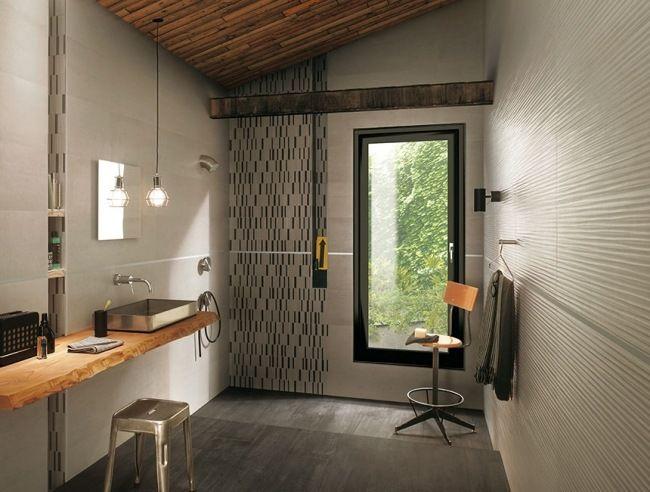 Moderne Fliesen Rustikale Bad Möbel Metall Waschbecken Holz ... Originell Fliesen Frs Badezimmer