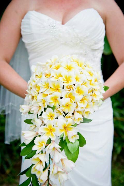 My Wedding Dress And Tropical Frangipani Flower Bouquet