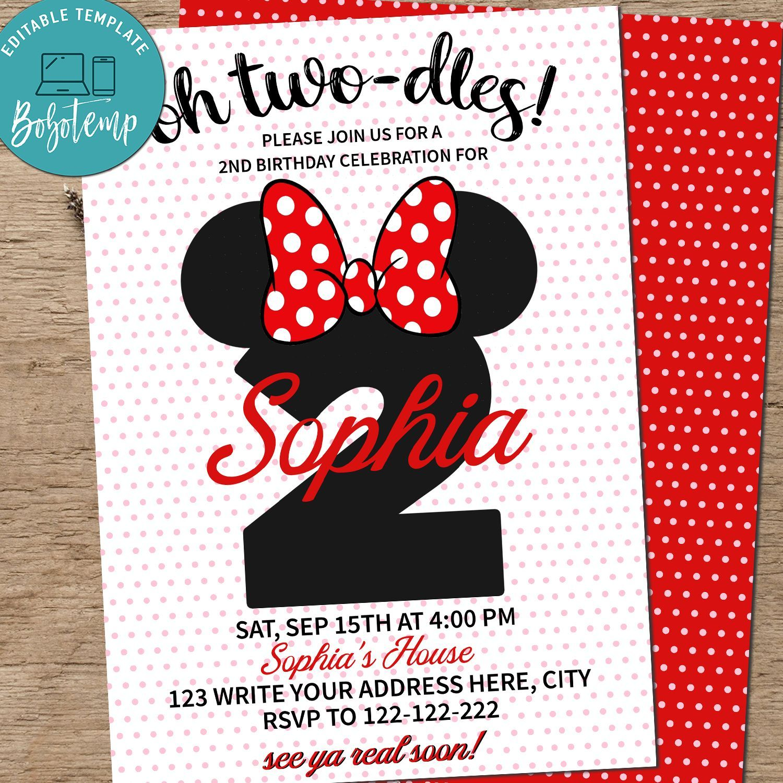 editable oh toodles birthday invitation