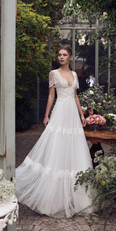 Bohemian Romantic Lace Vintage Wedding Dresses