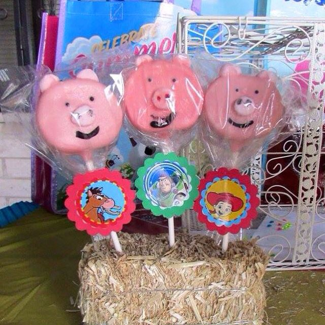 Toy Story Theme Large Chocolate Covered Marshmallows Decorated As Mr Ham