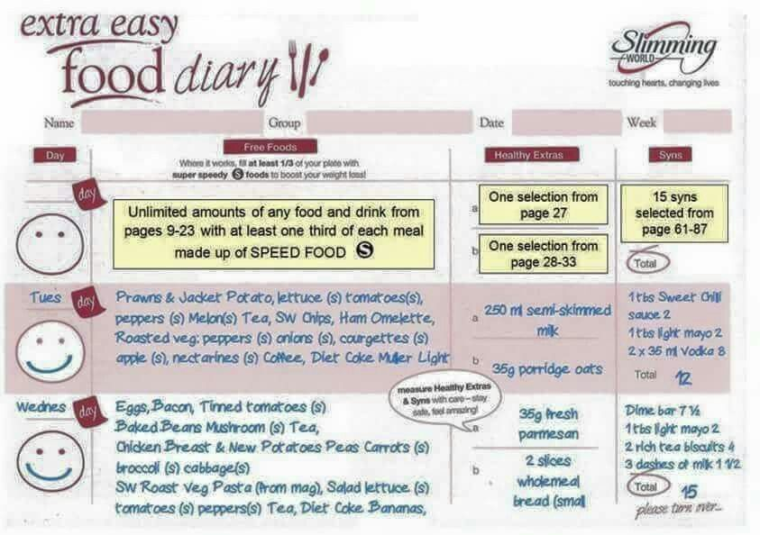 Slimming World Extra Easy Food Diary Slimming World