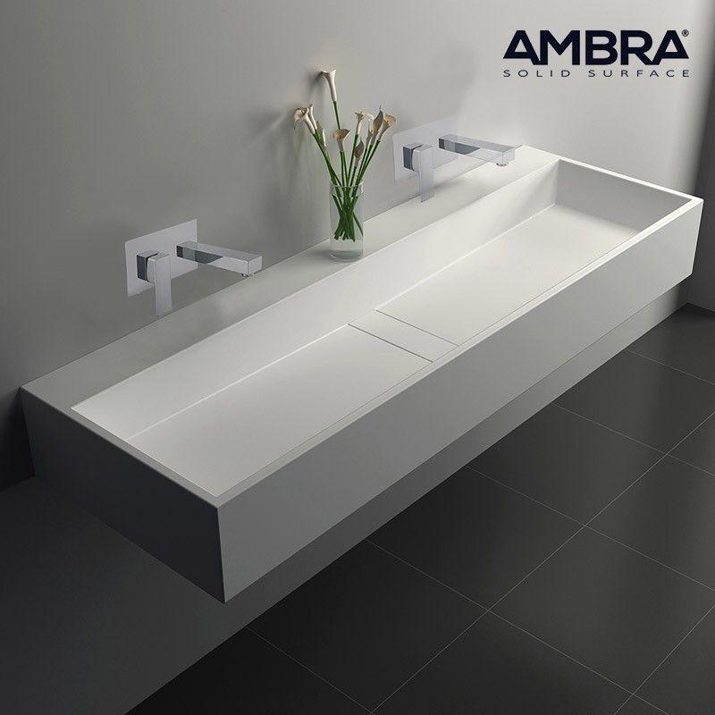 Vasque 120 Cm Suspendue Ou A Poser En Solid Surface Valencia Ii Sinks Bathroom Baths Interior Washroom