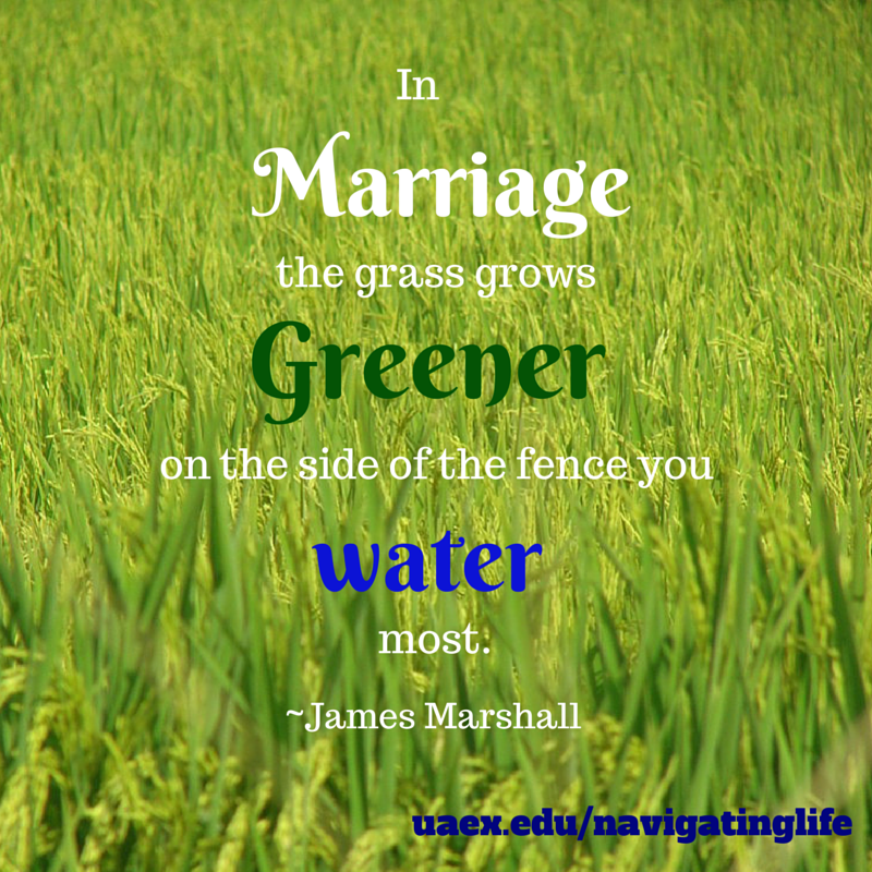 In Marriage The Grass Grows Greener On The Side Of The Fence You Water Most James Marshall Navigating Life Marriage Life