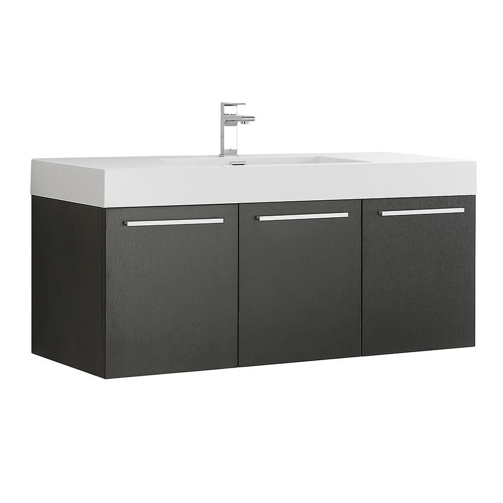 Fresca Vista 48 In Modern Wall Hung Bath Vanity In Black With