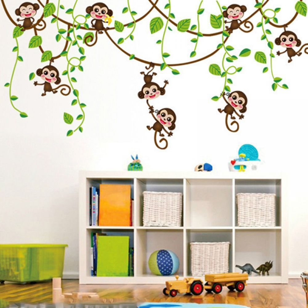 Funny Monkeys Vinyl Wall Sticker Kids Room Wall Jungle Wall Stickers Kid Room Decor