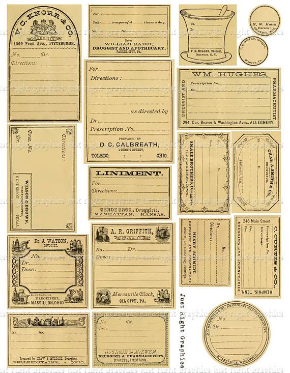 photo relating to Free Printable Apothecary Labels titled Classic Blank Apothecary Labels Journaling Card Ephemera
