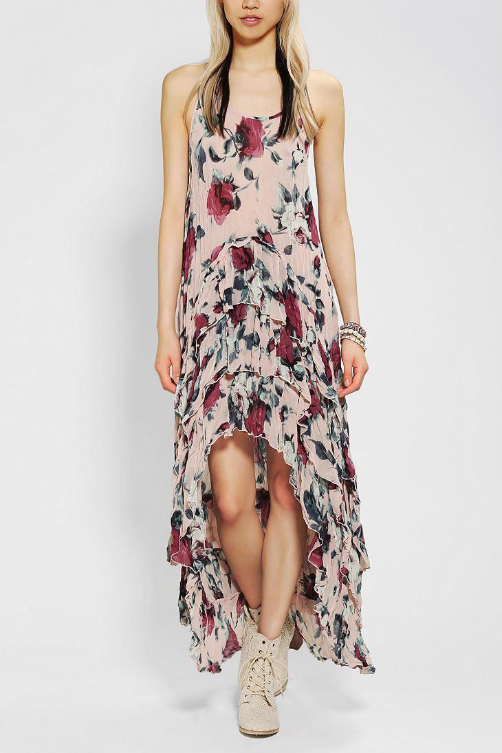 KNT By Kova & T Floral Chiffon Maxi Dress