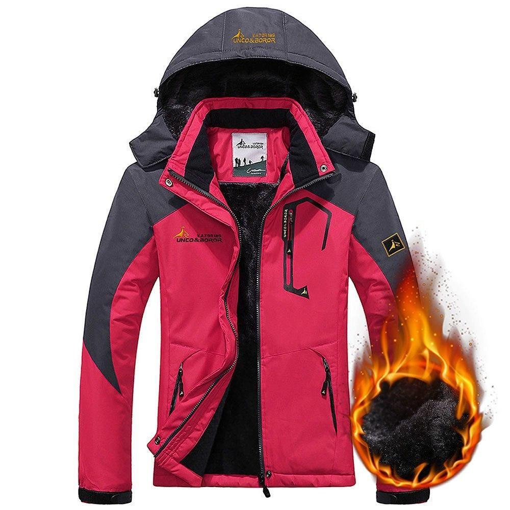 370b215ddd668 Women ski jacket Mountain Thicken Plus Size Fleece Warm Ski-wear Waterproof  Hiking Outdoor Snowboard