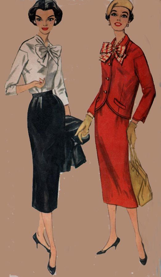 Vintage 50s Sewing Pattern Simplicity 2169 Misses Three Piece Wiggle ...