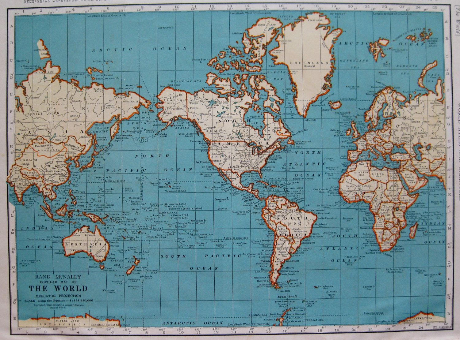 Map of The WORLD 1939 World Map Gallery Wall Art 1930s Library Decor ...