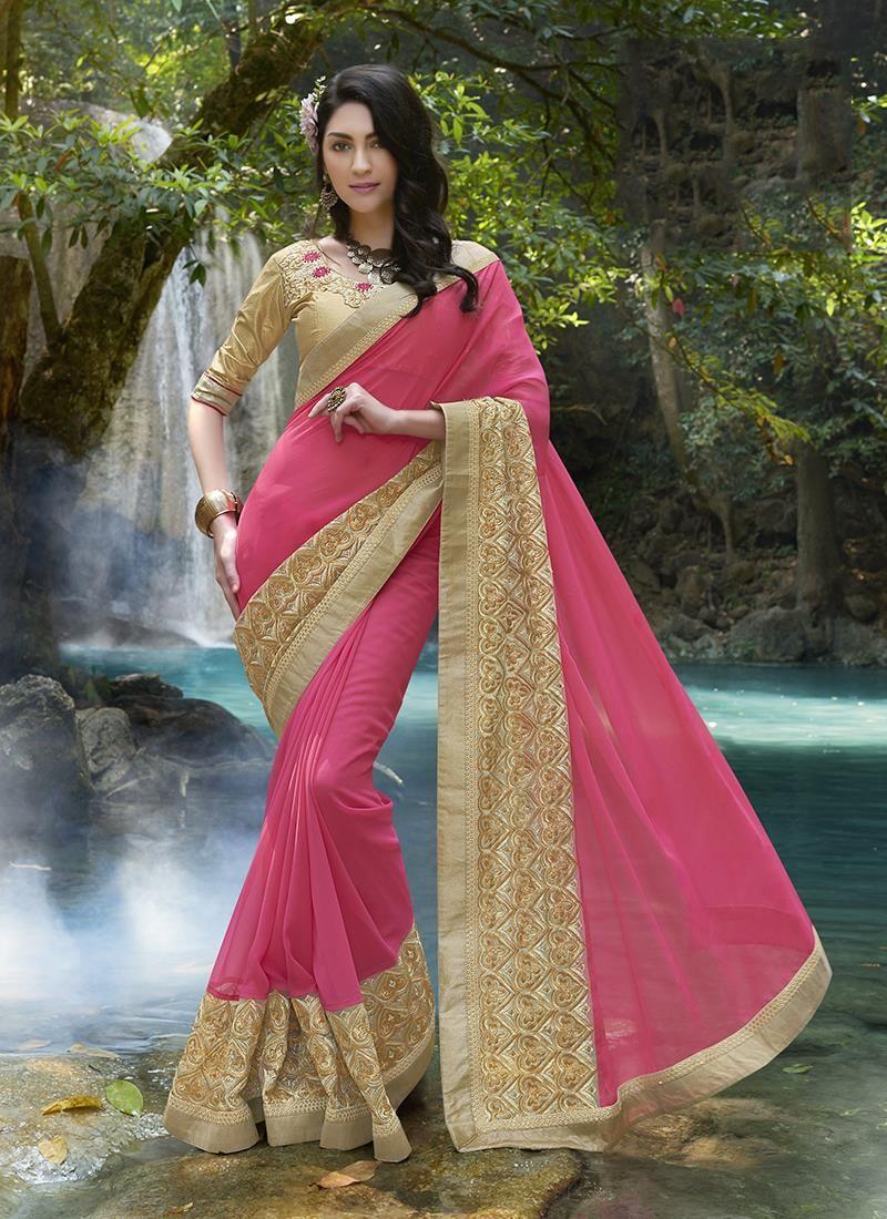 Splendid Pink Embroidered Work Designer Saree