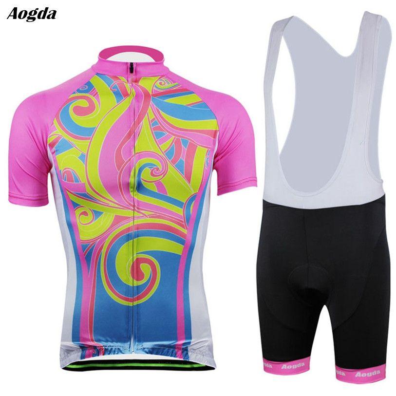 b41659044 Aogda Women Pro Cycling Clothing Pink Bike Bicycle Jersey Bib Shorts Sets  Blue MTB 3D Jersey