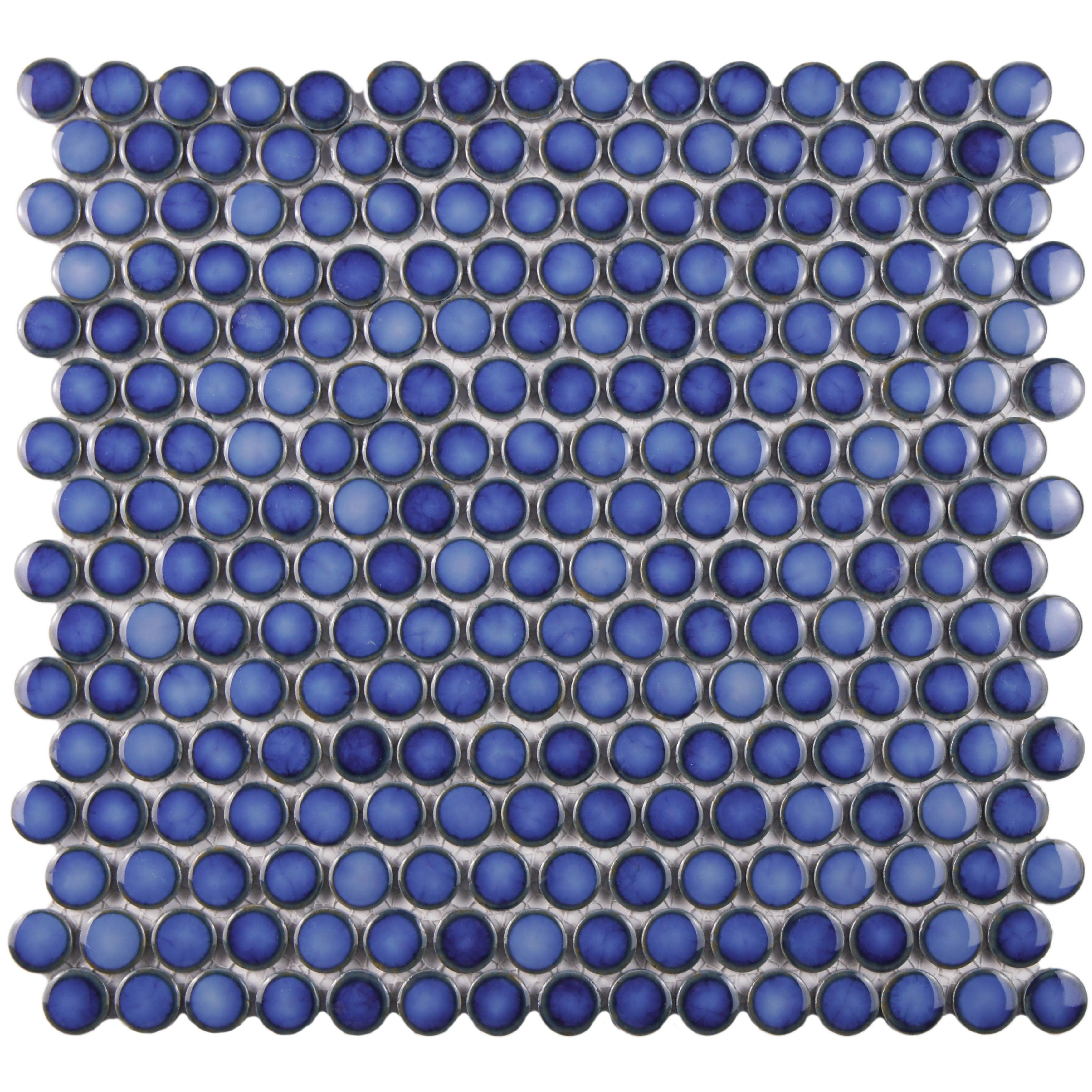 The SomerTile 12x12.25-inch Penny Sapphire Glossy Porcelain Mosaic ...