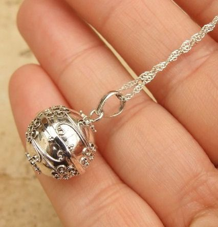 Vintage Silver plate Chime Ball Mexican Bola Ball With Chain and Key Ring