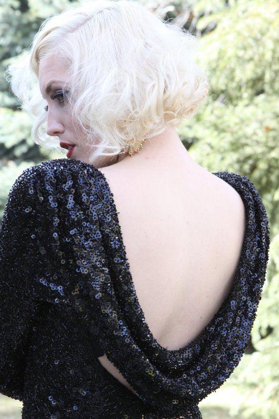 Vintage Sequin Embellished Dress / Marilyn Monroe / Backless Dress / Black / Cocktail Dress/ size Medium #backlesscocktaildress