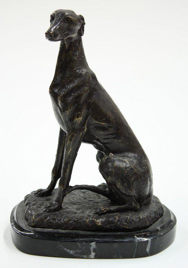Skulptur Figur Bronze Hund Windhund
