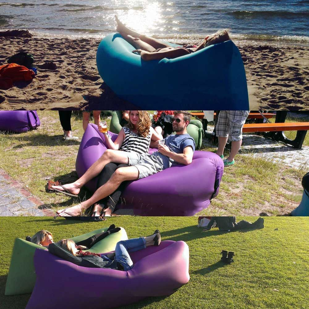 Lazy Lounger Inflatable Beach Camping Bed Bag Tent