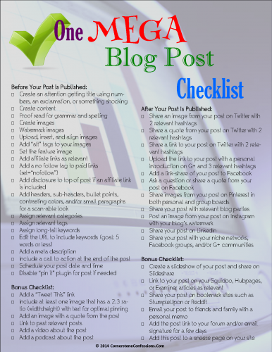 One Mega Blog Post Checklist Free Printable  Blogging