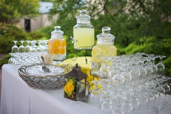 An Easy Idea For A Refreshment Table You Could Even Switch Out The Glass For A Grey Glass Just An Idea Yellow Wedding Weddings By Color Yellow Grey Weddings