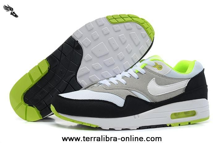 White Grey Green 2014 Mens Nike Air Max 1 87 Running Shoes For Wholesale
